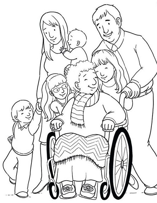 Grandmother Disabilities With Family Coloring Page