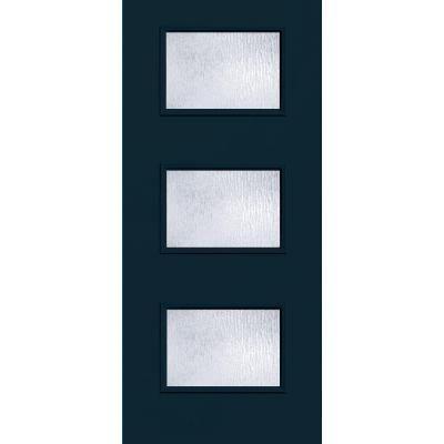 36 in x 80 in atlantis 3 lite rain glass painted for Prehung exterior doors with storm door