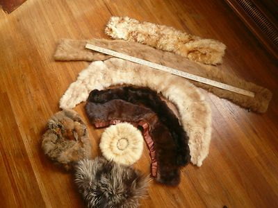 Lot of Real Fur Collars Hats