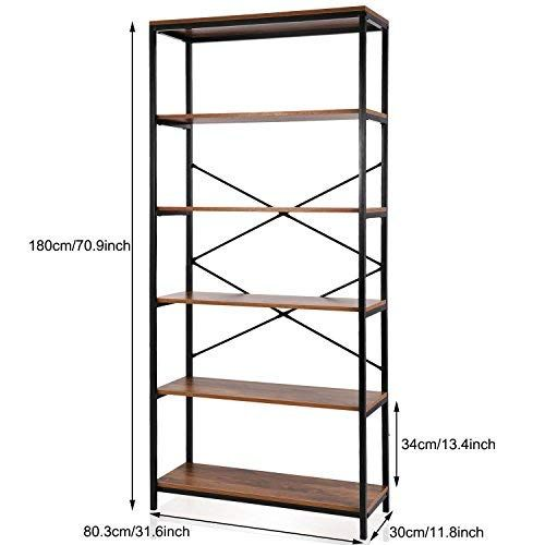 Modrine Bookcase Book Shelves Vintage 5 Shelf Industrial Bookshelf Vogue Carpenter Style Bookshelf Organizer Wood Metal Bookcase Storage Shelves Bookshelf Wooden Bookcase Display Shelves Bookcase