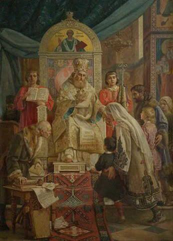 Uroš Predić (1856—1953)  SV. SAVA BLAGOSILJA SRPČAD   1921   ulje na platnu, 93x130 cm