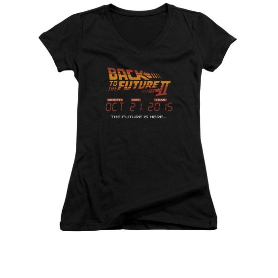 Back To The Future Ii - Future Is Here Junior V-Neck T-Shirt