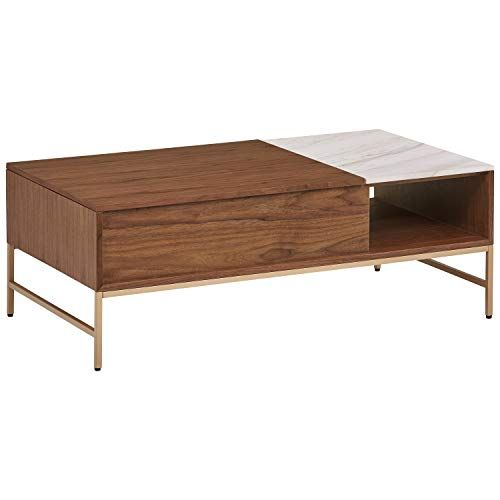 Midcentury Modern Rivet Modern Wood Coffee Table 24 W White