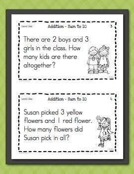 Math Task Cards for First Graders Freebie - Word Problems | Free ...
