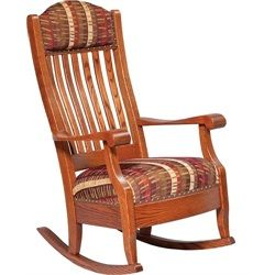 ... Rocker Rocking Chair White Oak Stain and Fabric Seat. Amish-made in