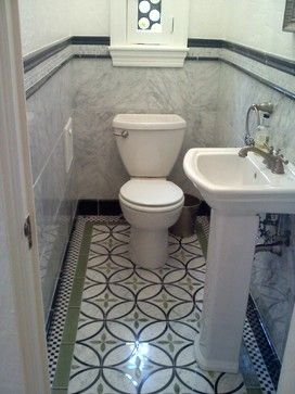 Waterjet Powder Room eclectic powder room, hate the colors but love the size, approx 3x5