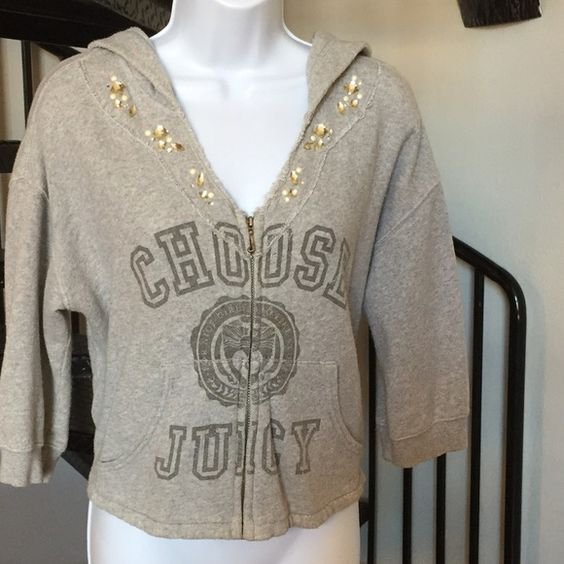 Juicy Couture Jacket hooded rhinestones very chic Juicy Couture Jacket with rhinestones, hooded  casual & chic Juicy Couture Jackets & Coats