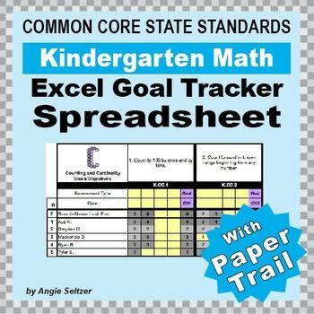 Kindergarten Common Core Math EXCEL Goal Tracker Spreadsheet with