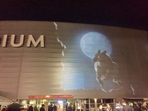 On stadium projections at the Wallabies vs All Blacks game in Wellington New Zealand's Westpac Stadium