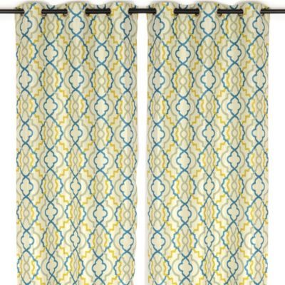 Marrakech Blue and Green Curtain Panel Set, 96 in | Blue and ...