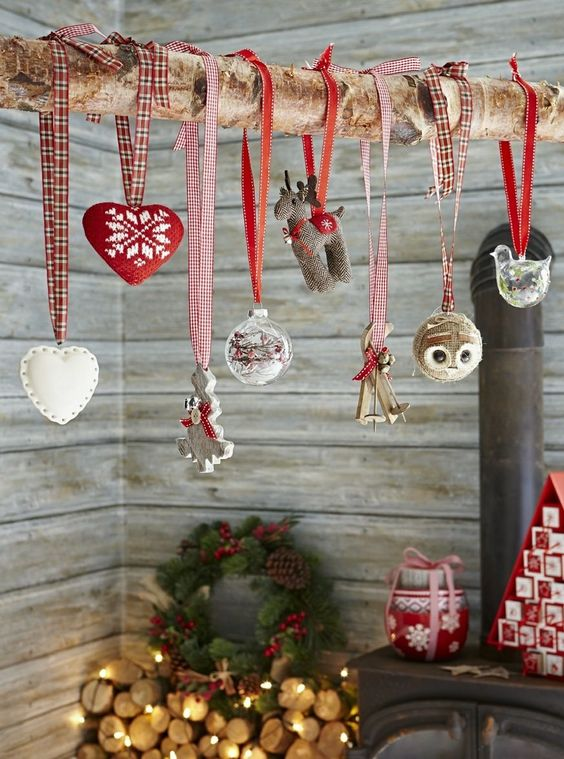 This is an interesting way of displaying Christmas decorations, now I just need a log!:
