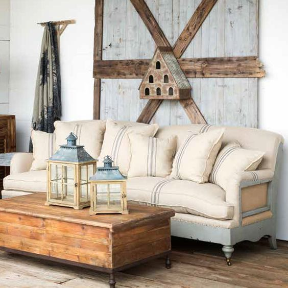 """Big, oversized sofa with distressed painted wooden frame, upholstered in striped linen and hemp, six pillows, two bottom cushions.brbrUA HREF=""""http:www.ironaccents.com109.html""""See all items..."""