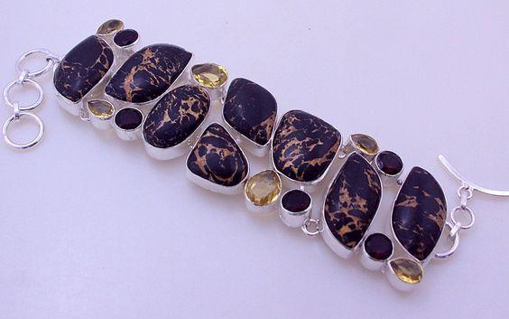 Xmas Sale- 70 Gr Mosaic Jasper-Citrine-Garnet Stone .925 Silver Handmade Bracelet Jewelry (oj-162) by PINKCITYGEMS on Etsy