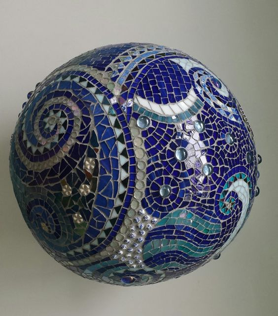 mosaic orb garden gazing ball sphere cobalt blue stained glass waves spiral round fine ar t mosaic copper beads marble terracotta: