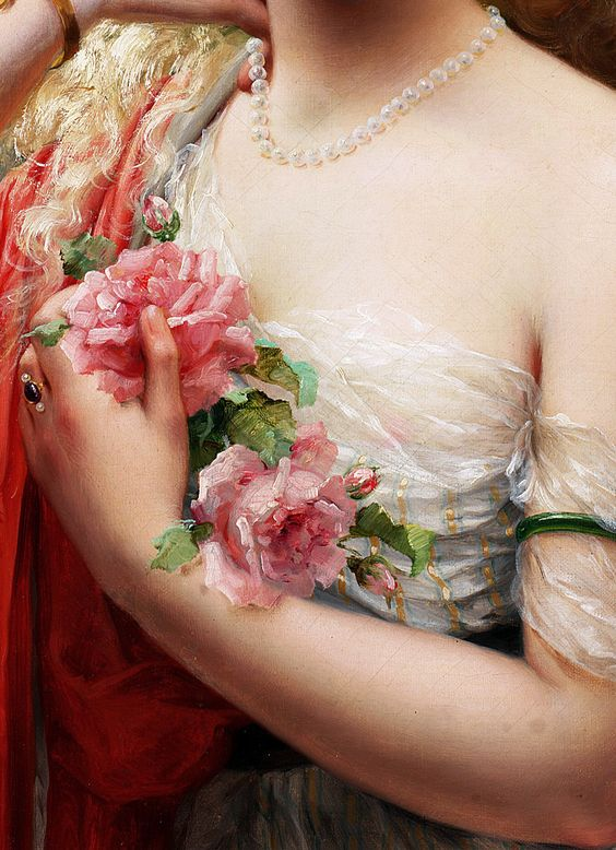"the-garden-of-delights:  ""Young Lady With Roses"" (1913) (detail) by Emile Vernon (1872-1919)."