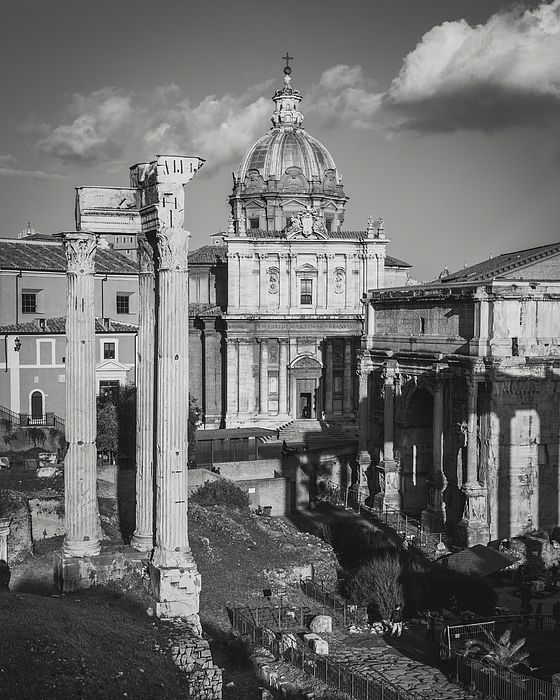 Roman Forum With The Church Of The Saints Luca And Martina. rome, roma, italia, italy, church, foro, forum, roman, ruins, archaeology, temple, arch, column