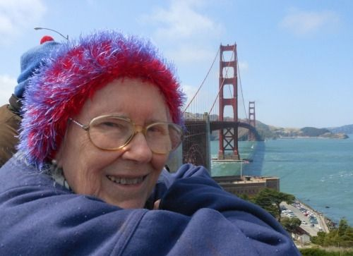San Francisco. 2012.  That's me mum.  88 years young, on the occasion of the 75th anniversary of the Golden Gate Bridge.  As a young girl, she walked across the bridge with her mother, on opening day, 1937.