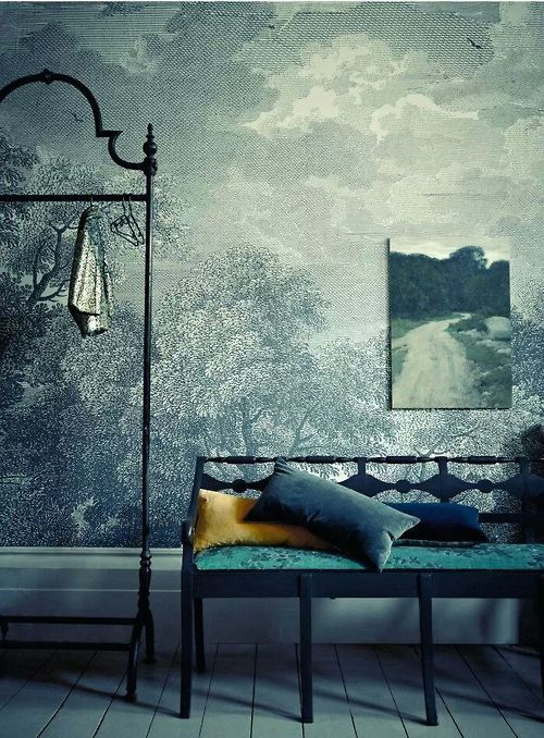 Anthropologie wallpaper materials pinterest for Etched arcadia mural wallpaper