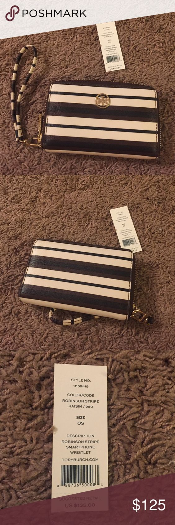 Tory Burch Robinson Wristlet Tory Burch Robinson Wristlet, fits iPhone, lots of card space, small enough to bring into NFL games, new, I love this! Brown, white, navy(or black.. Hard to tell) striped. Brown interior lining. Tory Burch Bags Clutches & Wristlets