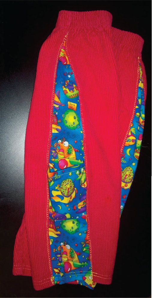 Red Alien Upcycled Pants with side panels size 3 by allearthlings