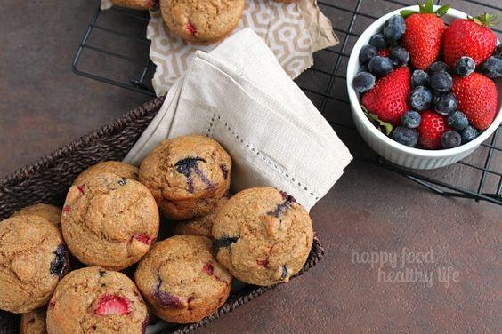 Berry Bran Muffins - www.happyfoodhealthylife.com