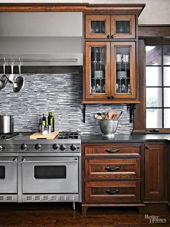 How To Brighten Up A Dark Wood Kitchen Stylish Backsplash Pairings Dark Wood Kitchen Cabinets Traditional Kitchen Cabinets Wooden Kitchen Cabinets