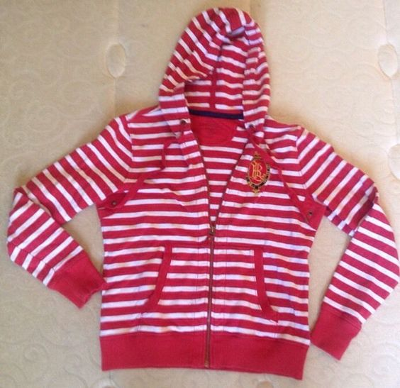 Womens RALPH LAUREN Logo Red Striped Nautical Zip Up Sweatshirt Hoodie - Small S #LaurenRalphLauren #SweatshirtCrew