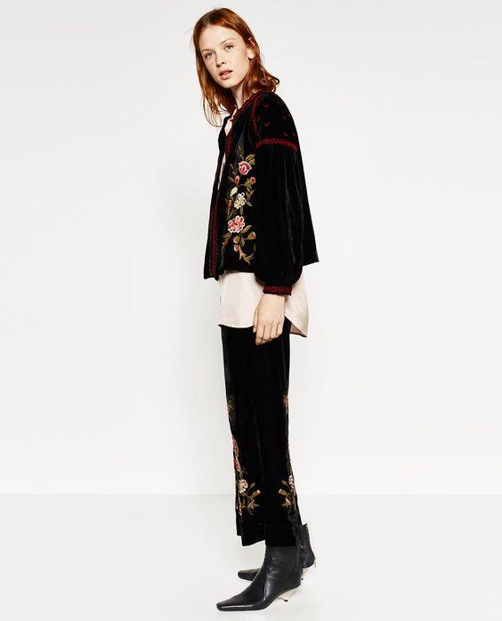 Image 1 of EMBROIDERED VELVET JACKET from Zara