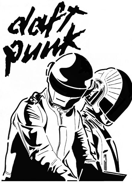 Daft punk stencil by xxbernisxx stencils pinterest for Daft punk mural