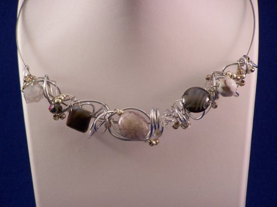 Handmade silvertone metal choker necklace. by mikes4art on Etsy, $26.00