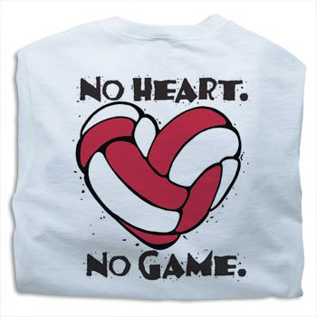 White Tandem No Heart. No Game. Volleyball T-Shirt at Volleyball.Com