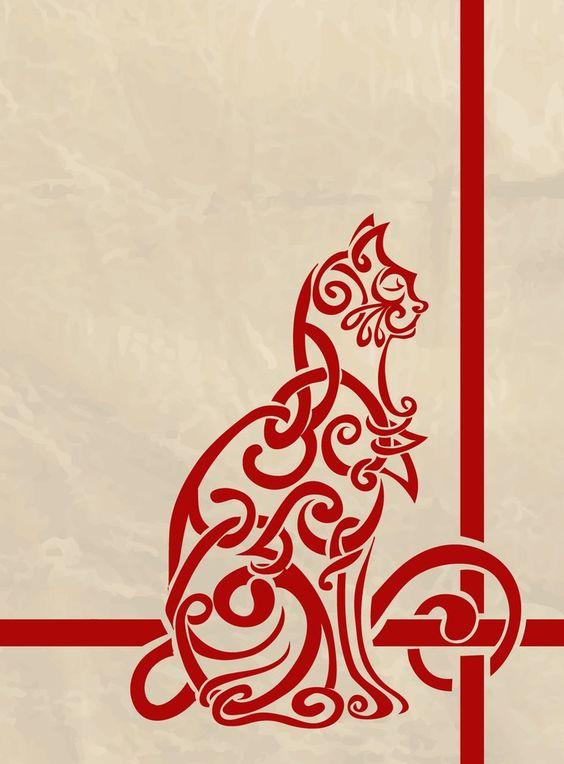 Celtic Knot Inspired Catby ~labrattish  Digital Art / Vector / Animals