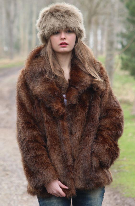 Wolf Cossack Hat &amp Bear Fur Jacket Autumn Winter Faux Fur British