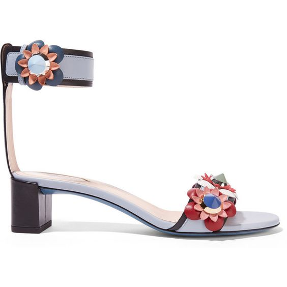 Fendi Floral-appliquéd leather sandals ($835) ❤ liked on Polyvore featuring shoes, sandals, blue, ankle wrap sandals, mid heel sandals, fendi sandals, blue sandals and multi color sandals