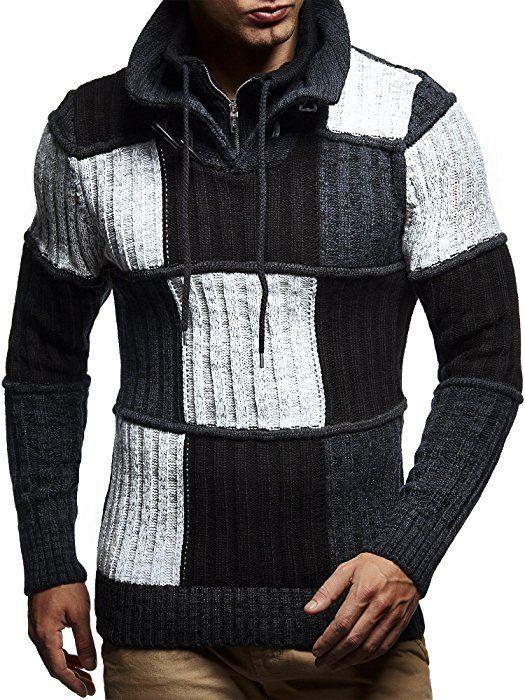 Leif Nelson LN5500 Men's Knit Pullover Black : Amazon.co