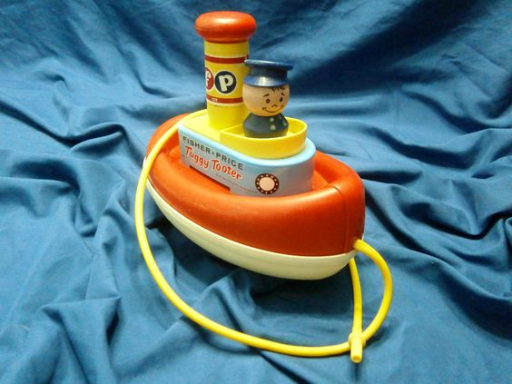Vintage Fisher Price Tuggy Tooter tub and land toy 139 1967-1973 by LovedOnceMoreVintage on Etsy