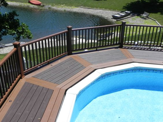 Above ground pool composite deck designs google search above ground pool decks pinterest - Above ground composite pool deck ...