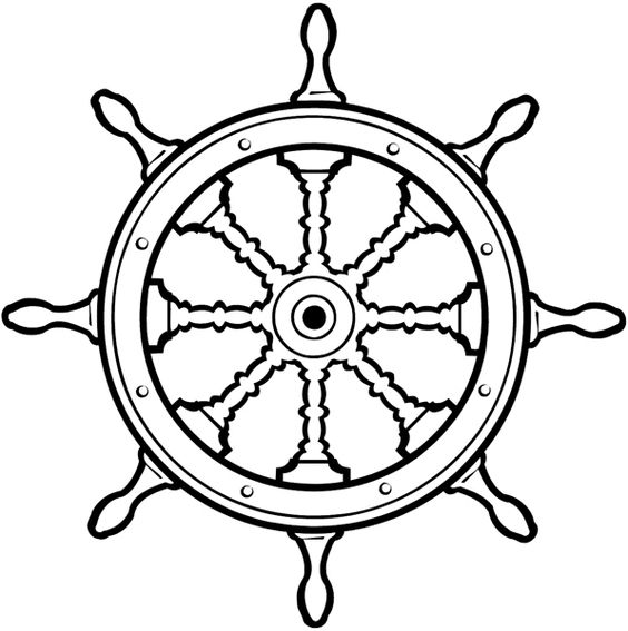 boat steering wheel black and white
