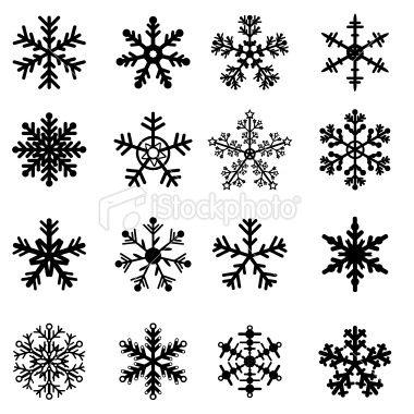 Black and White Snowflakes Set Royalty Free Stock Vector Art Illustration: