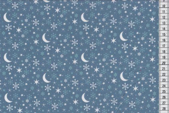 Westfalenstoff Kitzbühel Mond und Sterne blau