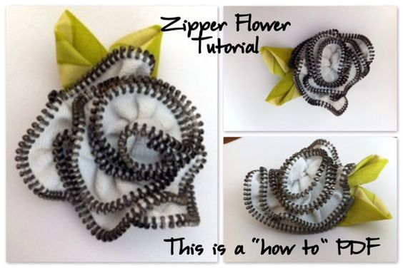 Zipper Flower Tutorial INSTANT DOWNLOAD How To by TheSewingLoft