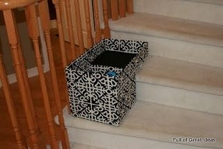 Full of Great Ideas: Stair Basket on my $0 budget - Organizing my life one step at a time