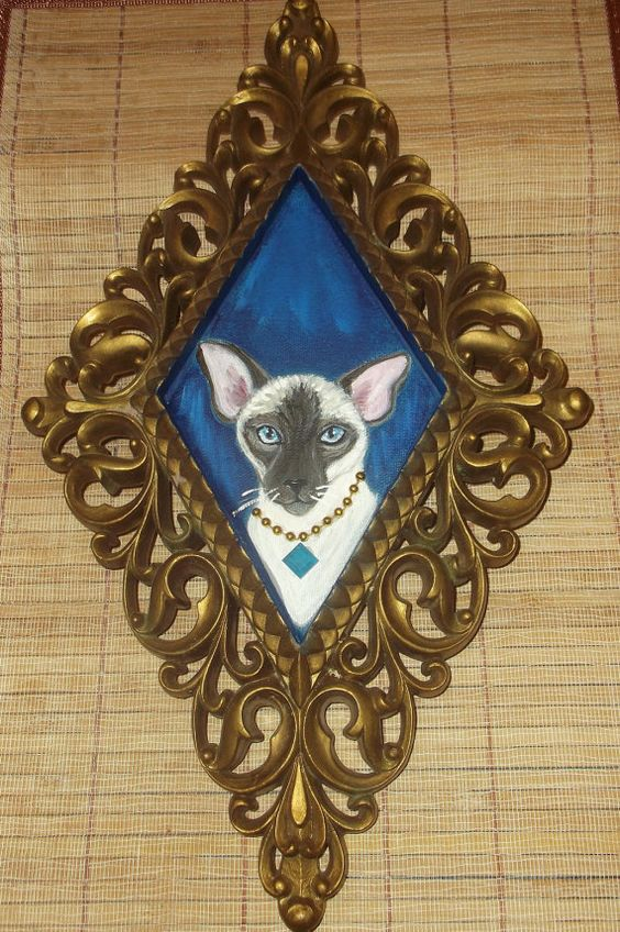 Siamese Cat Painting OOAK Collectible by daniellesoriginals, $20.00