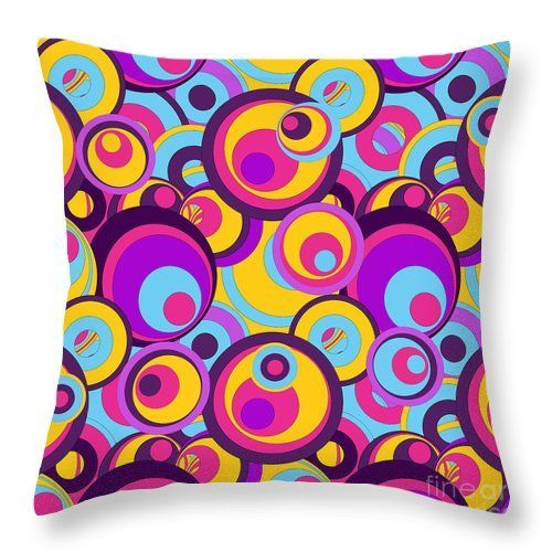 Retro Circles Groovy Colors Throwpillow By Gravityx9 At Pixels Shoppixels Fineartamerica Fun Col Throw Pillows Hippie Decor Pillow Decorative Bedroom