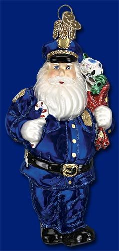 police officer santa christmas glass ornament - Police Officer Christmas Decorations
