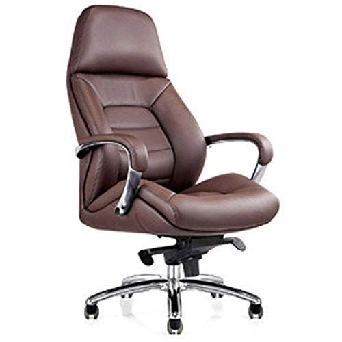 Gates Genuine Leather Aluminum Base High Back Executive Chair Dark Brown Office Chair Design Office Chair Leather Office Chair Leather high back office chair