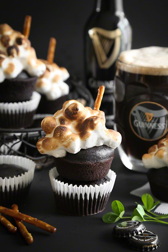 Guinness Cupcakes with Toasted Beer Marshmallow Meringue from @sprinklebakes