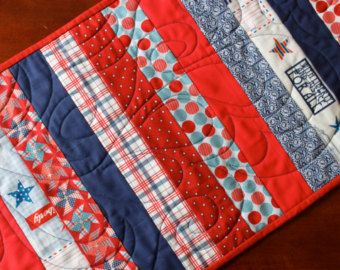 American acolchado corredor de la tabla 4 de julio Stars and Stripes decoración