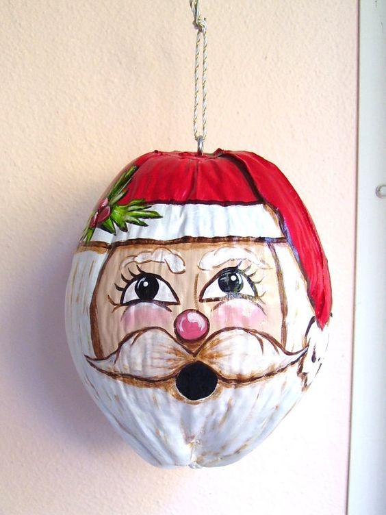Santa hand painted coconut