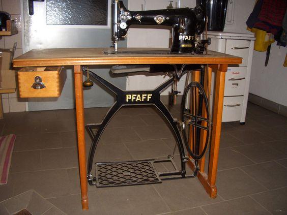 Alte Pfaff Nähmaschine KL 38-6 (Pfaff KL 38-6 industrial treadle - kohler k chenmaschine ersatzteile
